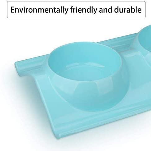 miaosun Double Stainless Steel Dog Cat Bowls with Non-skid&Non-spill Design, for Pet Food and Water Feeder (Blue)