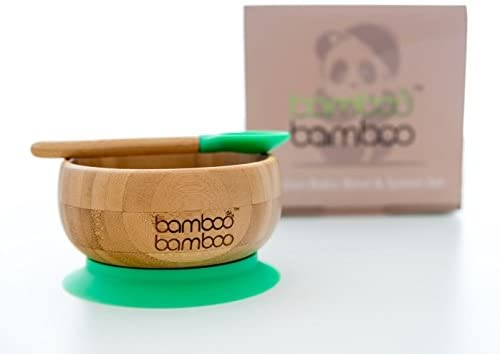 Baby Suction Bowl and Matching Spoon Set, Suction Stay Put Feeding Bowl, Natural Bamboo (Green)