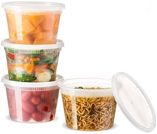 [48 Count 16 Oz Combo] Basix Disposable plastic Deli Food Storage Containers With Plastic Lids, Leakproof, Great For Meal Prep, Picnic, Take Out, traveling, Fruits, Snack, or Liquids