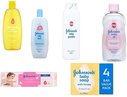Johnson's Baby Care Set 6 Pieces includes Baby Shampoo - Baby Oil -Baby Powder - Baby Bath - 56 All Over Baby Wipes & Pack of 4 Johnson's Baby Soap with Honey