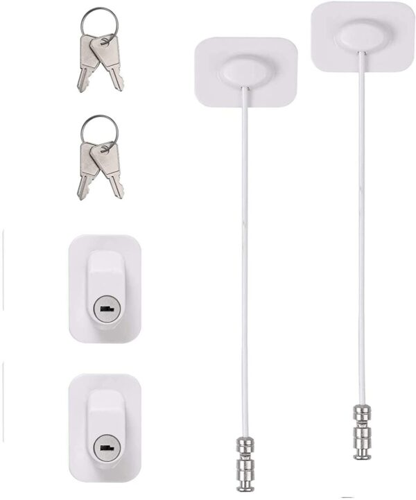 Door Lock,Child Safety Magnetic Cupboard Locks,Window Door Restrictor,Baby Safety Self Adhesive Window Restrictor Security Lock with Keys for Home, Public and Commercial Applications(2pcs)