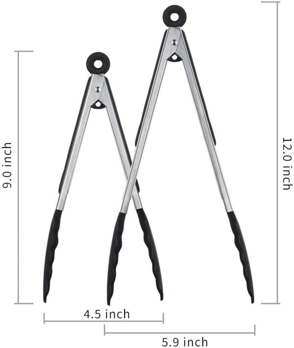 """iNeibo Kitchen Premium Silicone Tongs - Pack of 2, 9""""and 12"""" - Non-slip & Easy Grip Stainless Steel Handle - Smart Locking Clip - Heat Resistant, Food Grade - Handy Utensil For Cooking, Serving, Barbecue, Buffet, Salad, Ice, Oven (Black)"""