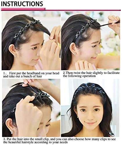 Clip headband,korean braided headband, Braided Hair Styling Headband With 8 Small Clips, Double Bangs Hairstyle Hairpin, Easy To Use for Hair Accessories Beauty Hairdressing Tool(A Set Of 2 Black)
