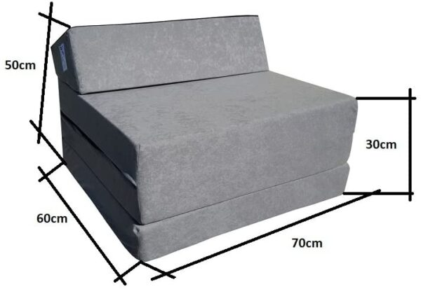 Natalia Spzoo® Fold Out Guest Chair Z Bed Futon Sofa for Adult and Kids folding mattress (Gray)