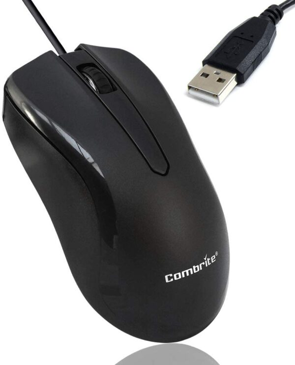 COMBRITE M40 USB Wired Optical Mouse With Comfort Rubber Scroll Wheel & Red LED For PC And Laptops, Windows, Mac OS, Linux Plug And Play - Black