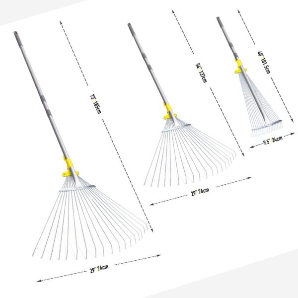 Jardineer 180cm Adjustable Garden Rake Leaf, Collect Loose Debris Among Delicate Plants, Lawns and Yards, Expandable Head from 25cm to 75cm. Ideal Garden Rake Tools.