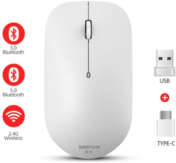 Wireless Bluetooth Optical Mouse, USB-C Dongle Computer Mouse, PC Cordless Mouse with 4 Connectivity Modes [BT 5.0+BT 3.0+USB-C+USB Nano] for Laptop, White
