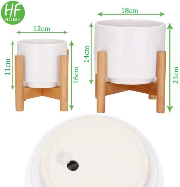 HFHOME Set of 2 Mid-Century Modern Ceramic Plant Stand with 18cm & 12cm Diameter Plant Pots Indoor, Round White Standing Planters with Drainage and Plug, Outdoor White Garden Cactus Planters