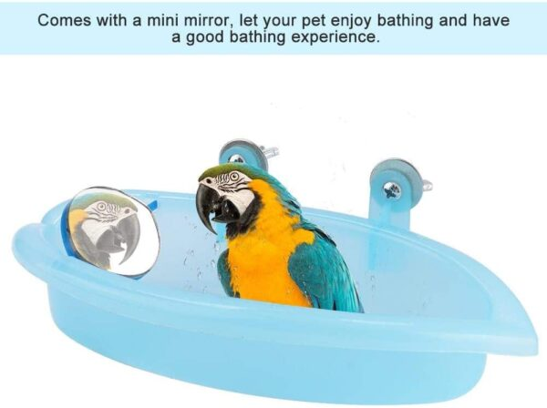 Bird Bath with Mirror Toy Parrot Bathtub Bath Box Bowl Cute Pet Bird Bathing Box Bird Shower Bathtub Accessories Bird Cage Toy Accessory Blue