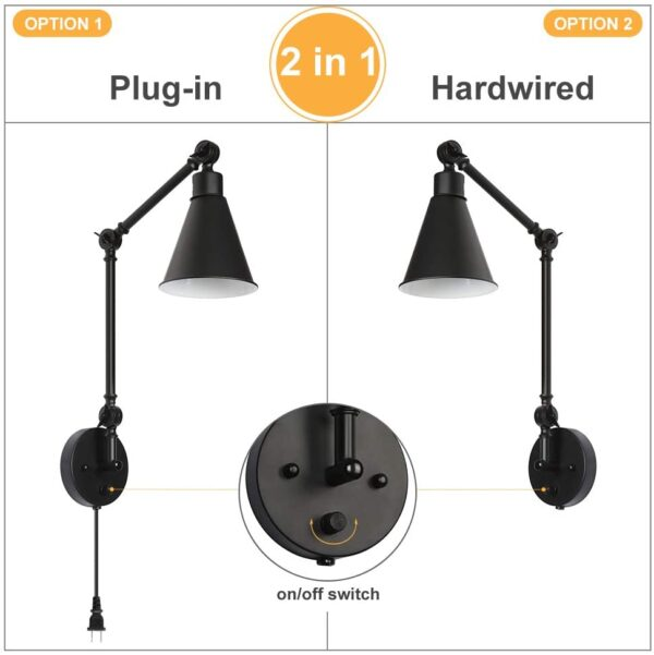 Wall Lights Sconce Swing Arm Retro Industrial Wall Light Fixtures Lamp Shade Set of 2, Dimmable Lamp Metal E27 for Home Decor Loft Coffee Bar - Black (Bulb Not Included)