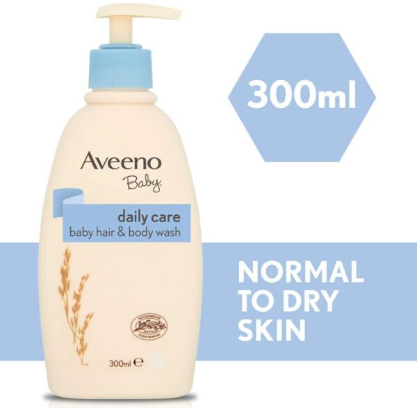 AVEENO Baby Daily Care Hair & Body Wash - Gently Cleanses Babies' Skin - Baby Wash & Baby Shampoo - Baby Essentials - 3 Pack (3 X 300ml)