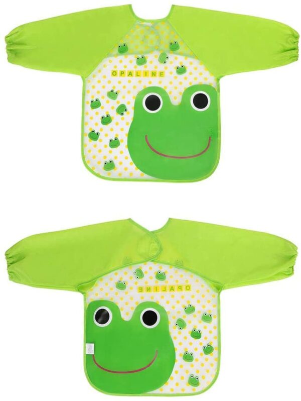 Vicloon Bibs with Sleeves,4 Pcs Waterproof Long Sleeve Bib Unisex Feeding Bibs Apron for Infant Toddler 6 Months to 3 Years Old