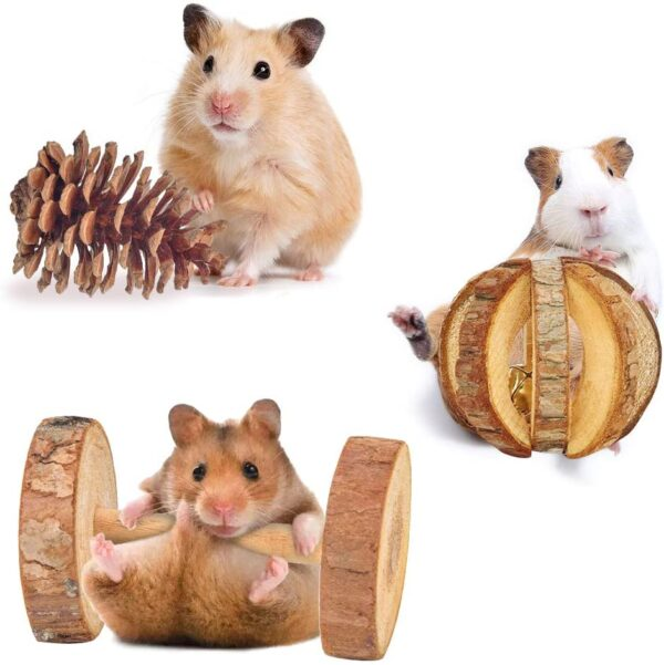 Hamster Chew Toys, Gerbil Rat Guinea Pig Chinchilla Chew Toys Accessories, Natural Wooden Dumbbells Exercise Bell Roller Teeth Care Molar Toy for Rabbits Bird Bunny