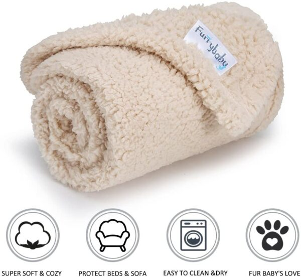 furrybaby Premium Fluffy Fleece Dog Blanket, Soft and Warm Pet Throw for Dogs & Cats Beige (Small (60x80cm))