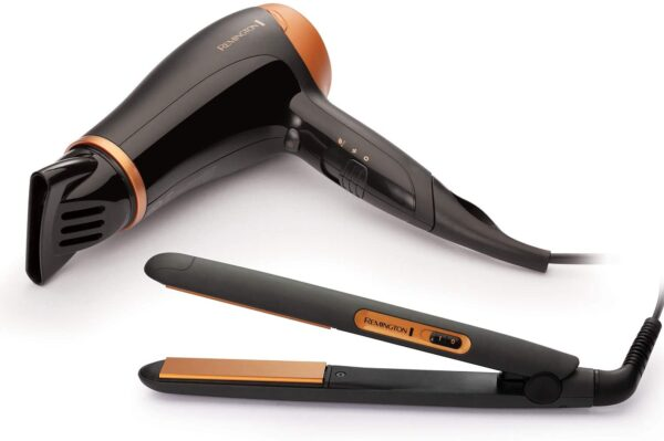 Remington Hair Care Gift Set - Ceramic Hair Straighteners and 2000 W Ionic Hair Dryer with Concentrator D3012GP