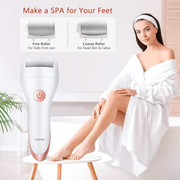 Electric Foot File, La'prado Callus and Hard Skin Remover with 2 Rollers, Rechargeable Foot Care Tool for Dry Dead and Cracked Feet