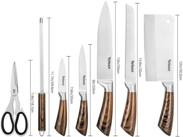 Velaze Block Sets, 8-Piece Stainless Steel Kitchen Knife Sets with Sharpener and Spinning Block - Brown Color