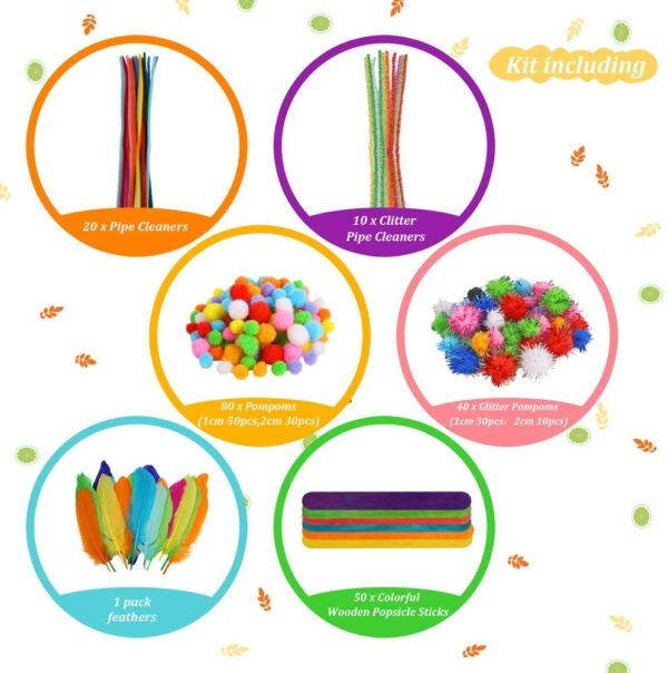 Caydo Arts and Crafts Supplies for Kids- Over 1000 Pieces of Colorful and Creative Arts and Crafts Materials, Includes Glitter Glue, Pom poms, Pipe Cleaners, Popsicle Sticks for Kids and Toddlers