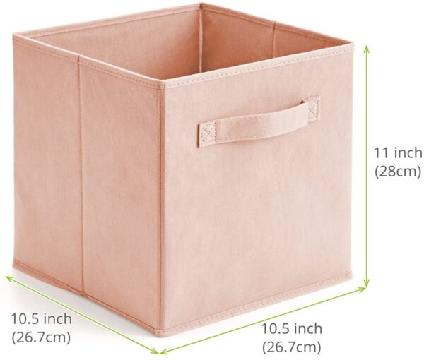 EZOWare Set of 6 Foldable Cube Storage Box, Organiser Basket Containers with Handles, for Home Office Nursery Organisation, 26.7 x 26.7 x 27.8 cm - Pale Dogwood