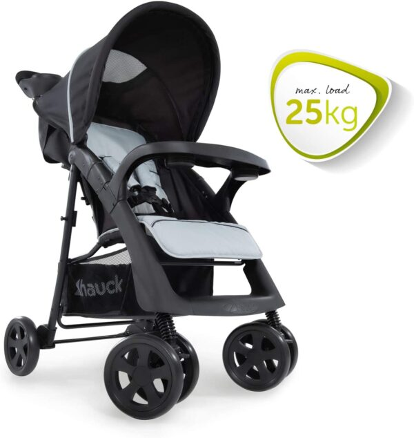 Hauck Shopper Neo II Pushchair up to 25 kg with Lying Position from Birth, Compact Folding, Lightweight Only 7.5 kg, with Two Cup Holders - Black Grey