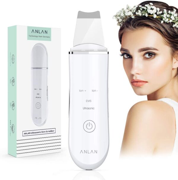 Facial Skin Scrubber,ANLAN 4In1 Electric Ultrasonic EMS Ion Face Spatula Blackhead Removal Pores Cleaner Wrinkle Remover Comedone Extractor Skin Care Massager USB Rechargeable Beauty Tool