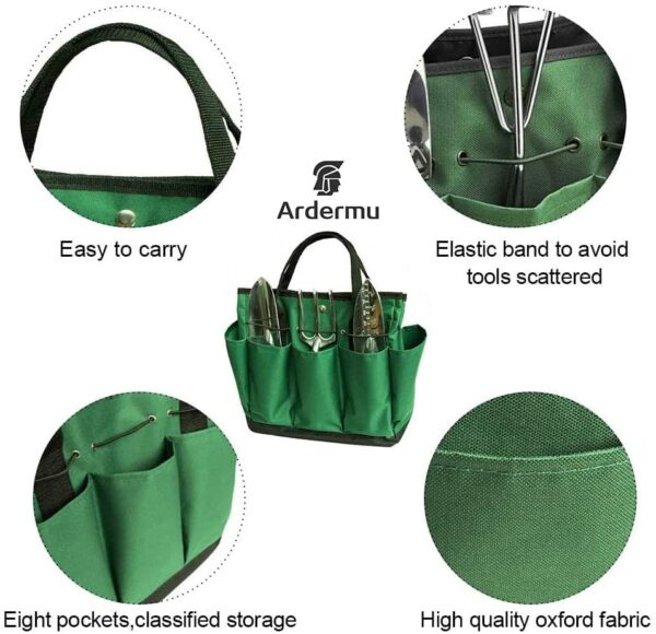 Gardening Tool Storage Bag - Garden Plant Tool Set Organizer with 8 Pockets Oxford for Indoor Outdoor(Green)