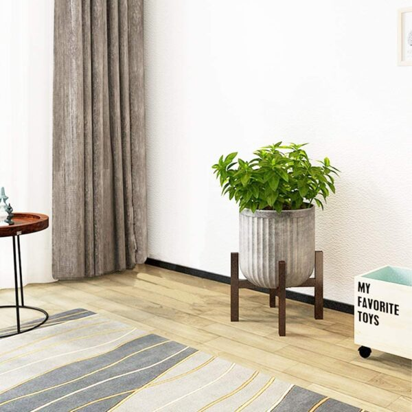 PrettyWit Brown Plant Stand Bamboo Wooden Planter Holder and Flower Pot Stand Rack - Modern Home Decor for Indoor or Outdoor (Pot not included)