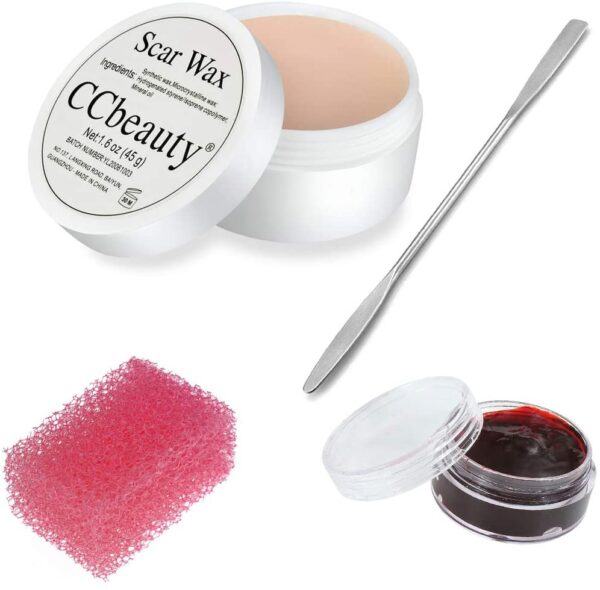 CCbeauty Special Effects Stage Makeup Wax (1.6 Oz) Fake Wound Moulding Scars Kit with Spatula,Scab Blood(0.63Oz) + Pink Stipple Sponge