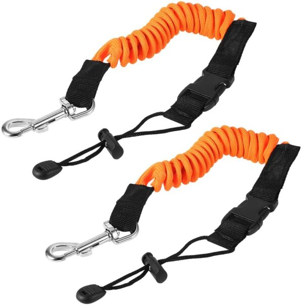 POFET 2pcs 140cm/55inch Kayak Paddle Leash Fishing Rod Coiled Cord Holder Kayaking Canoeing Boating Surfing Accessories