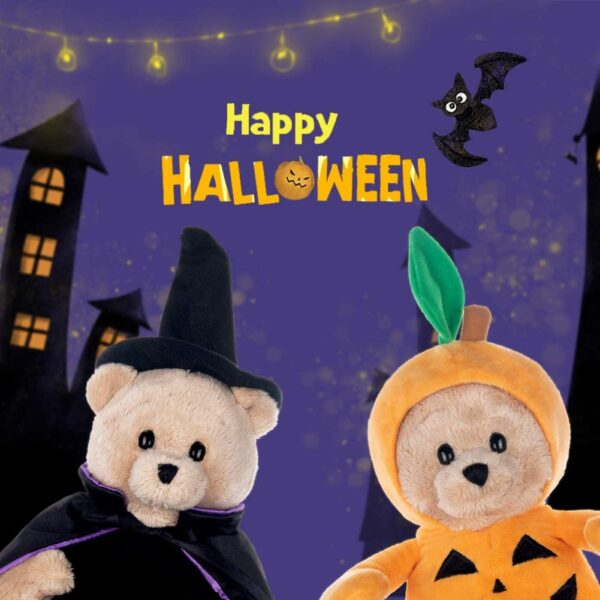 "My OLi 9"" Stuffed Animal Plush Halloween Toy Teddy Bear Plush Pumpkin Stuffed Wizard Toy with Fliptable Hats Halloween Ornaments/Gifts for Kids Baby Toddler"