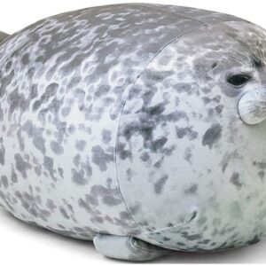Chubby Blob Seal Animal Pillow Stuffed Cotton Plush Animal Toy Cute Seal Stuffed Toy Cotton Plush Animal Soft Seal Hugging Pillow Back Cushion, Grey,40cm
