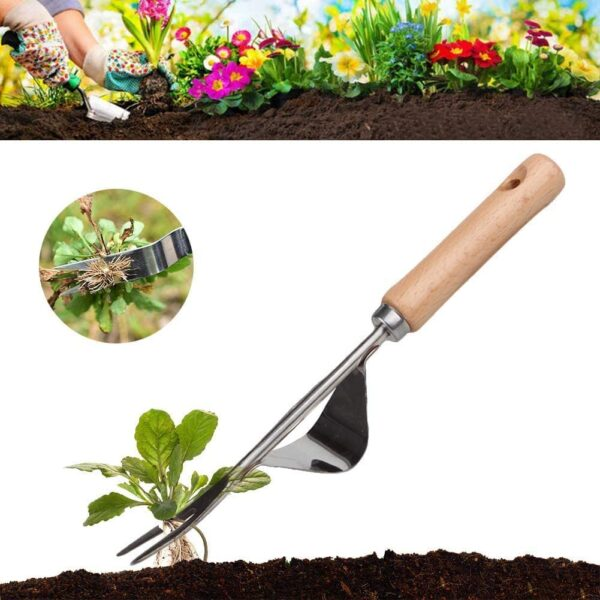 Manual Weeder Tool, Stainless Manual Weed Puller Bend-Proof with Smooth Natural Wood Handle, Premium Hand Weeding Tools for Garden