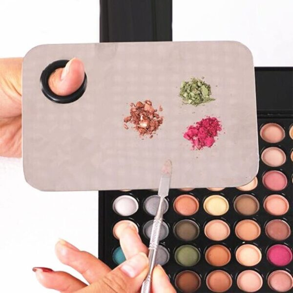 ROSENICE Makeup Mixing Palette Makeup Palette Stainless Steel Blending Palettes with Spatula Tool for Mixing Foundation Silver
