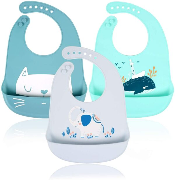 3pcs Baby Bibs Waterproof Silicone Feeding Bibs for Babies and Toddlers Unisex Super Soft High Quality and Easily Wipe Clean with Wide Food Crumb Catcher Pocket (Set of 3 Colours)