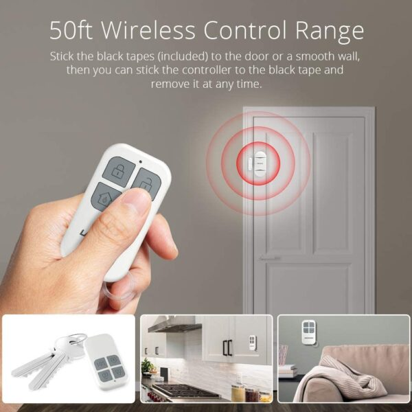 LACORAMO Door Alarm Sensor - Premium Quality - Wireless Magnetically Triggered Window Alarm, 130 db Siren Security Entry Burglar Alert with 2 Remote Controls for Protecting Kids Safety, Home, Shop