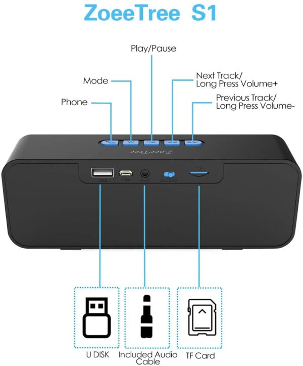 ZoeeTree S1 Bluetooth Speaker, Bluetooth 5.0 Portable Speaker with Stereo Sound and Hi-Fi Bass, 12H Playtime, TF-card Slot, Built-in FM and Mic, Speakers for Phone/Laptops, Speaker Work with Alexa