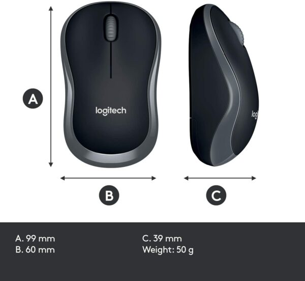 Logitech M185 Wireless Mouse USB for PC Windows, Mac and Linux, Grey And Black with Ambidextrous Design
