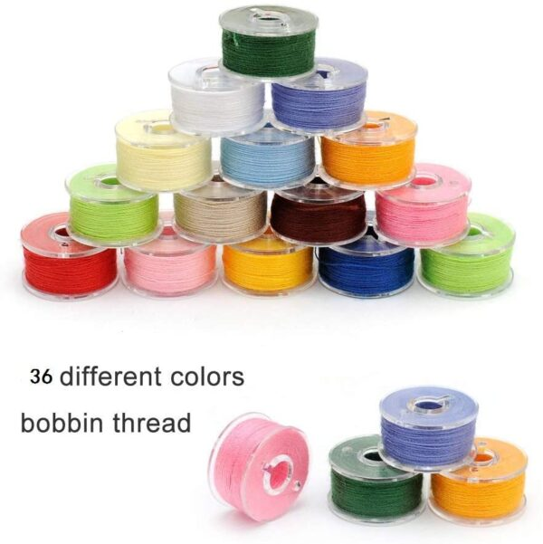 36Pcs Sewing Machine Bobbin Threads with Storage Case Box, Pre-Wound Bobbins Set for Brother/Babylock/Janome/Elna/Kenmore/Babylock/Singer Sewing Machine(Assorted Colors)