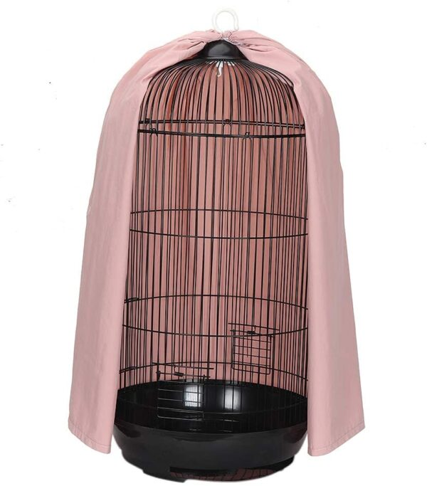 chengsan Universal Round Dome Top Bird Cage Cover, Thicken Nylon Pet Parrot Cage Cover, Birdcage Light Covers Skirt Accessories for Parakeets Lovebirds Budgies Finches Canary Small Bird Cage (Pink)