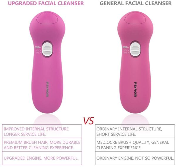 Facial Cleansing Brush,【2020 Upgraded】 Spin Brush PIXNOR Face Brush Waterproof 7 in 1 Portable Electric Exfoliator Facial Massager for All Skin Care