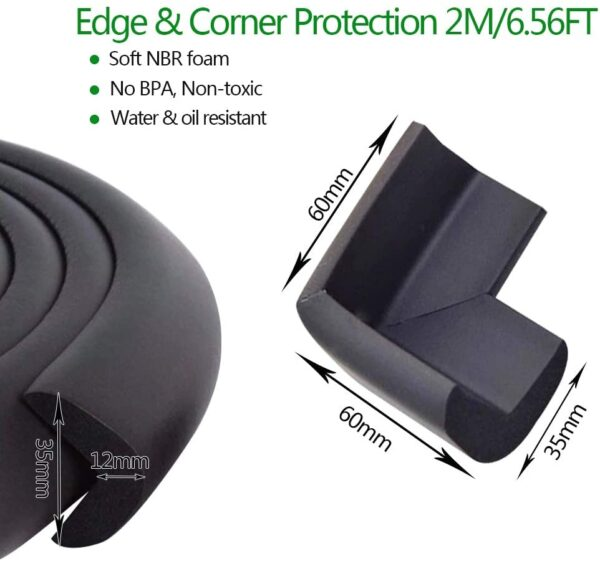 Fairy Baby Safety Baby Edge & Corner Guards Colorful Childproofing Protection(6.6ft Edge Guard+4 Corner Guards),Black