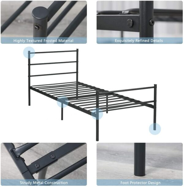 Aingoo Single Bed Solid 3Ft Metal Beds Frame with Large Storage Space For Children or Adults Fit 90 * 190 cm Mattress Black
