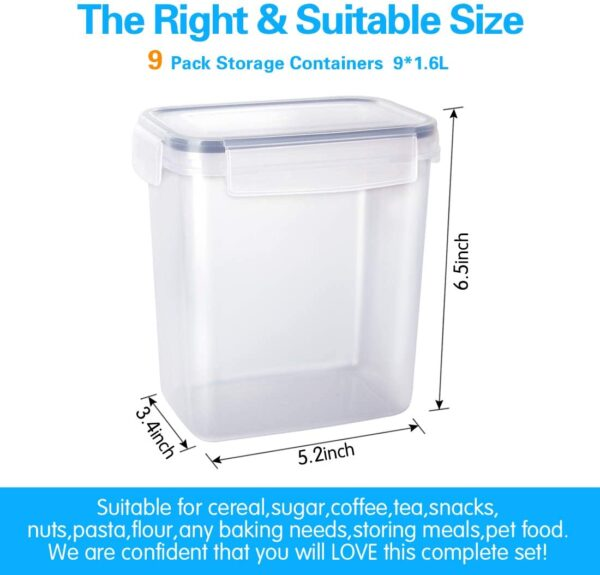 Airtight Food Storage Containers 9 Pieces 1.5qt / 1.6L- Plastic PBA Free Kitchen Pantry Storage Containers for Sugar, Flour and Baking Supplies - Dishwasher Safe