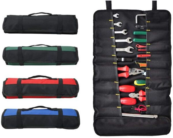 QEES Tool Roll Bag with 38 Pockets, Foldable Tool Bag, Screwdriver Roll for Outdoor Use GJB01 (2#Black)