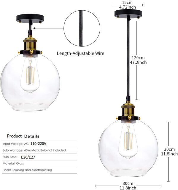 Frideko Vintage Industrial Ball Glass Lampshade Ceiling Pendant Light for Home Office Bedroom Coffee Shop (ø30CM)