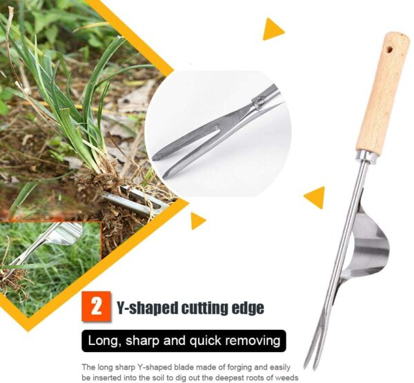 Sunwuun Manual Weeder Tool, 2 Pack Stainless Manual Weed Puller Remover with Wooden Handle, Hand Weeding Tools Hand Weeder Tool for Garden Lawn