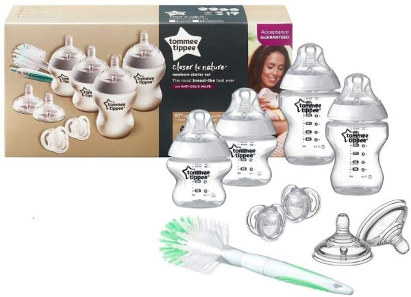 Tommee Tippee Closer to Nature Newborn Baby Bottle Starter Set, Clear, 2 x 260 ml Bottles, 2 x 150 ml Bottles, Teats, Bottle and Teat Brush and Soothers