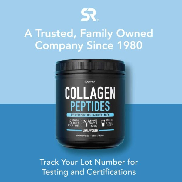 Sports Research Pure Hydrolyzed Collagen Peptides, Dietary Supplement, Grass Fed, 16 Oz
