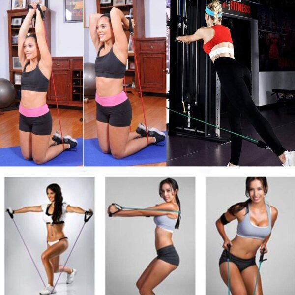 JIMACRO Exercise Resistance Bands 11 PCS Set with Door Anchor, Ankle Straps, Foam Handles, Fitness Tubes for Men Women, Fitness Stretch Workout Bands for Home Gym Fitness