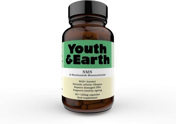 Youth & Earth NMN Nicotinamide Mononucleotide | Delayed-Release Capsules 125mg | Repairs Damaged DNA | NAD+ Booster Supplement| Anti-Aging & Metabolism Booster Made in The UK